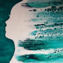 Gegoten acryl op schilderij #6