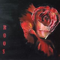 Rode bloemen drieluik - Roos