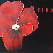 Rode bloemen drieluik - Viool