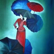 Vrouw met paraplu's